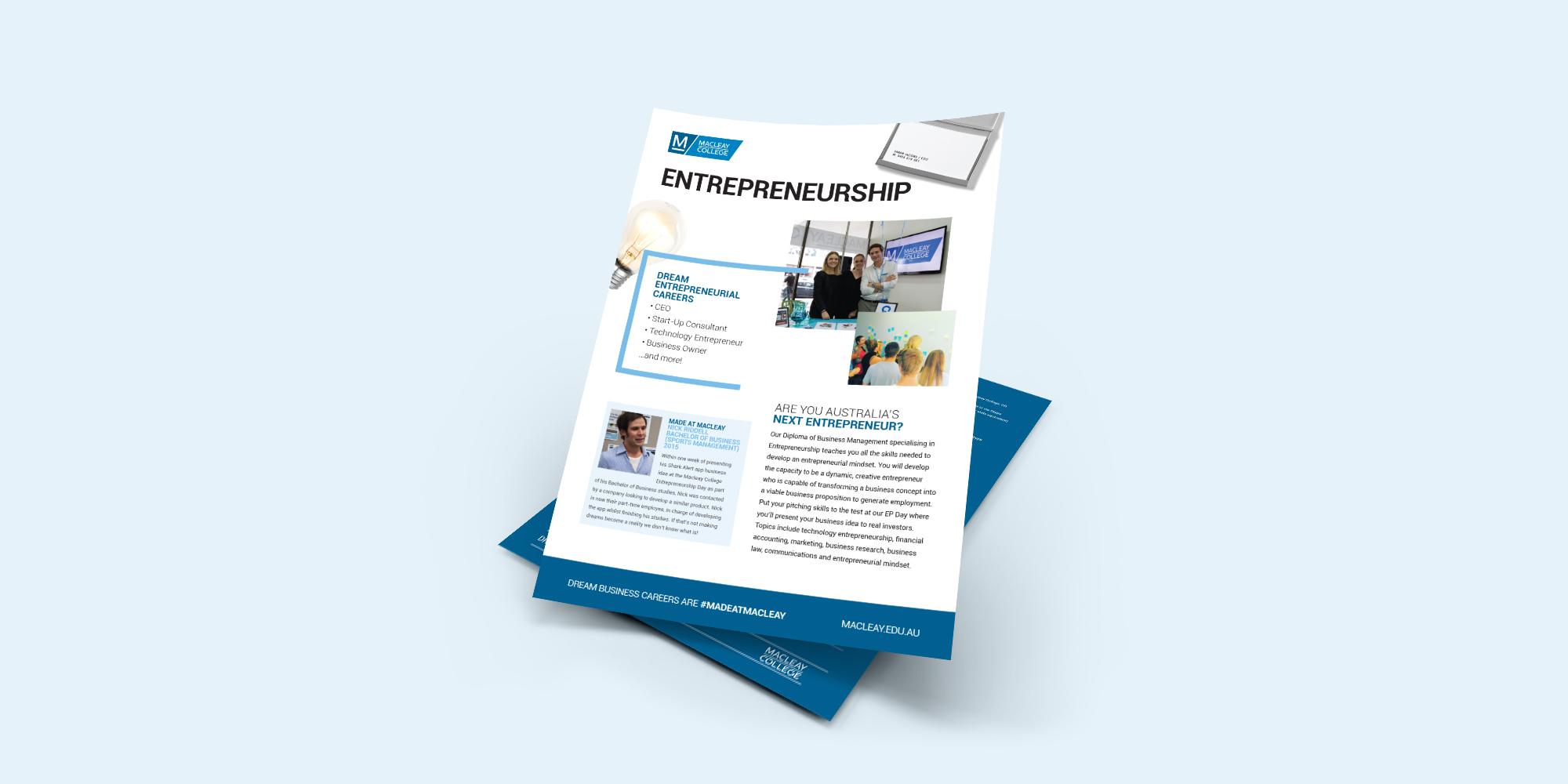 Macleay College Entrepreneurship Flyer